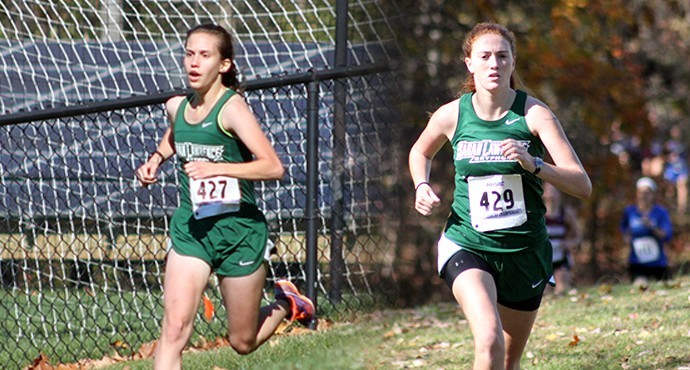 Natalie Greico '17 and Mary Kauffman '16 push through to the end of their races. Photo by Paul Blascovich