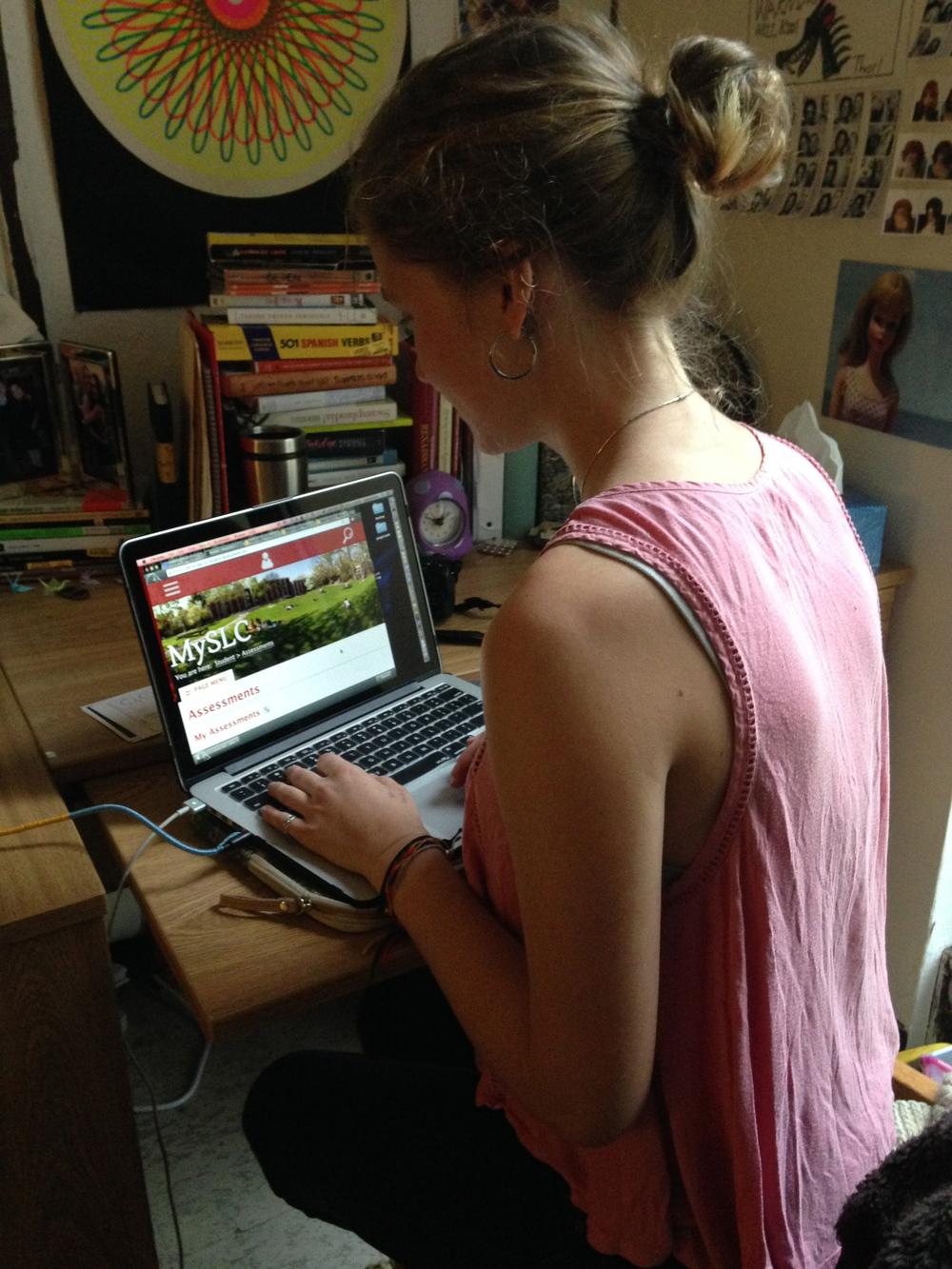 Sofia Seidel '17 looks at her assessments on MySLC.Photo by Janaki Chadha '17