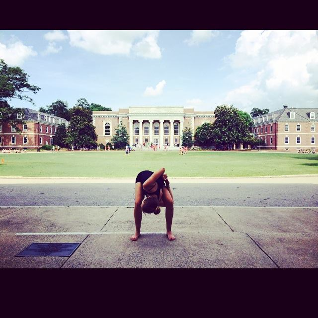 Sarah Steinhart '17 dances on the  steps of a building at Duke University, during the American Dance Festival Summer Program that she and Bennett attended this summer. Photo by Willa Bennett.