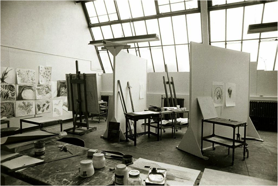 Original painting studio located in Bates.   2014_209 – Photograph by Sarah Lawrence College Office of Publications. Courtesy of the Sarah Lawrence College Archives