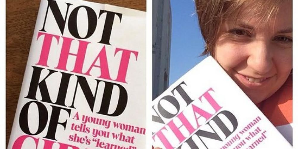 "Lena Dunham poses with her autobiography ""Not That Kind of Girl""  via Huffington Post"