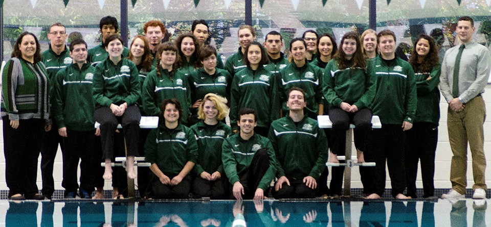Back: Cameron Martinez, Amit Sankaran, Brendan McAlevy, Jack Chu, Hannah Lawson, Albert Riley, Rachel Barkowitz, Elizabeth Kroll. Middle: Assistant Coach Allison Curley, Andrew Kaufman, Gabby Risica, Colette Harley, Zoe Berg, Lydia Mullan, Sarah Schnapp, Sam Amberchan, Jacqueline Quirk, Nick Ransom, Sky Mihaylo, Head Coach Eric Mitchell. Seated: Brenna Rice, Jay Pulitano, Alexis Bates, Michael Turadek, Owen Marks, Sonia Abraham Photo by Paul Blascovich via GoGryphons.com