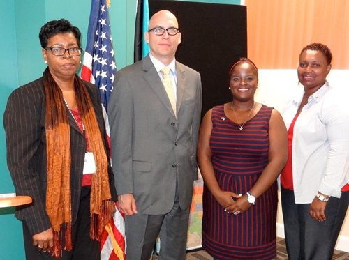 Acting Deputy Chief of Mission and Education Specialist Myra McPhee with COB officials. Photo State Dept.