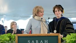 Barbara Walters '51 poses with President Karen Lawrence at last year's commencement Ceremony on the North Lawn via  sarahlawrence.edu