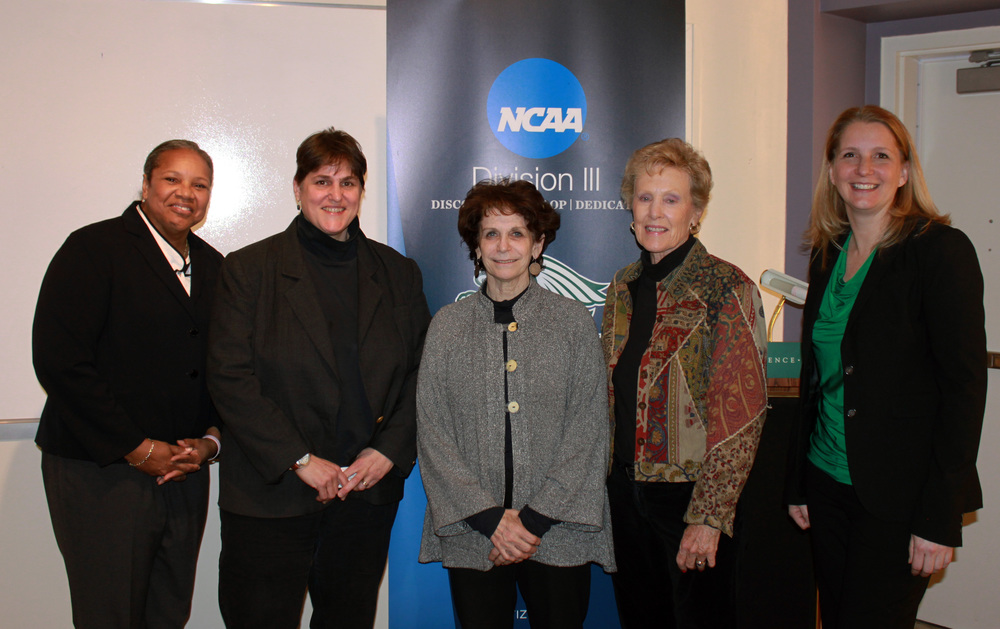 """Women need to support women"" — Cathy Rush. Above from left to right: Sharon BEverly, Executive director of athletics and recreation at The College of New JErsey; Lyde Sizer, SLC Faculty Member and three-sport student-athlete at Yale University; Karen Lawrence, President of Sarah Lawrence college; Cathy RUsh, Hall of Fame Basketball coach; Kristin maile, SLC director of Athletics and Physical Education. photo courtesy paul blascovich."