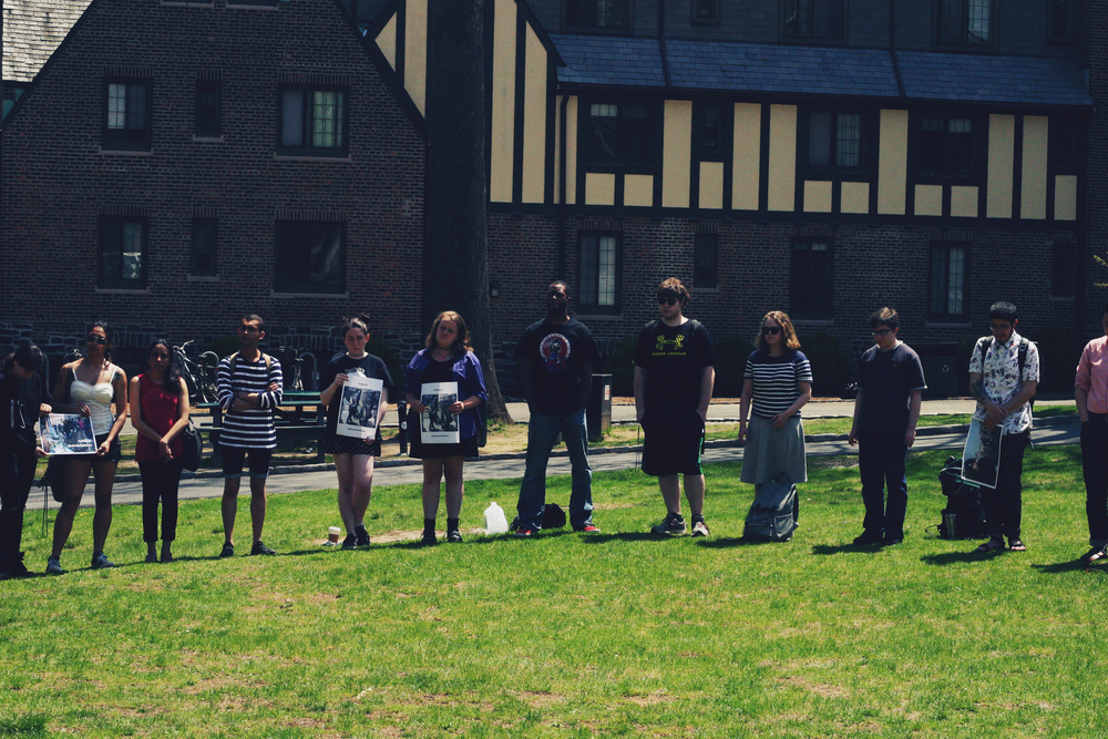 SLC Students stood in a circle on the North Lawn in silence to honor the death of Baltimore citizen Freddie Gray. Photo courtesy Rachel Eager '17