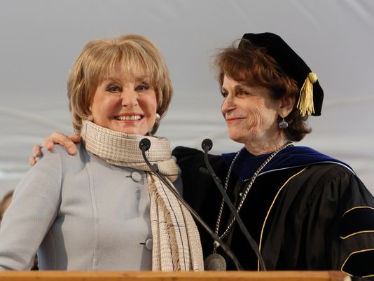 Alumna Barbara Walters with President Karen Lawrence at the 2014 commencement. Photo credit: Tanya Savayan/The Journal News