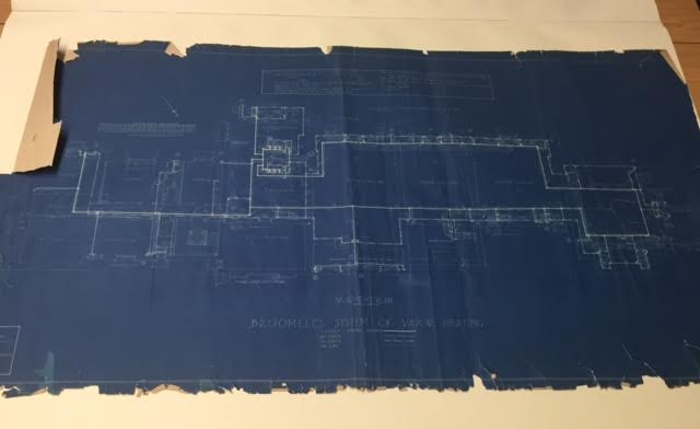 The original 1916 blueprint of Westlands' Basement. Photo Credit: Andrea Cantor