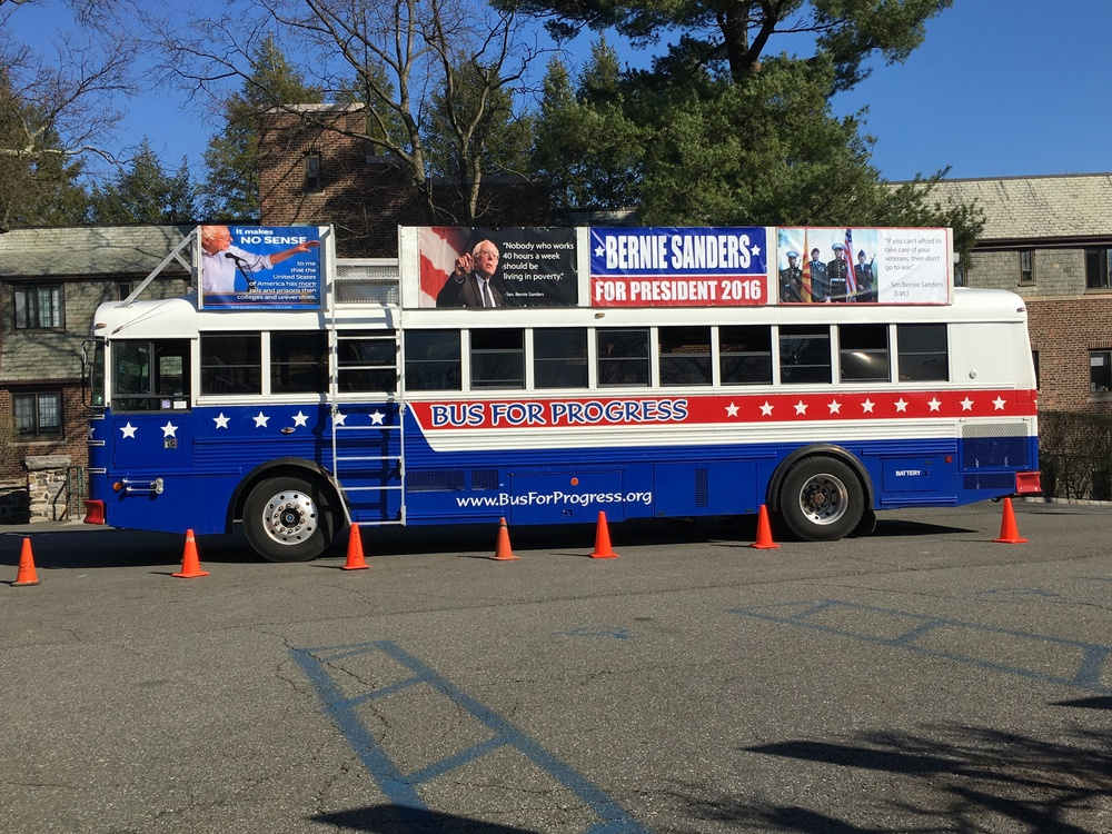 The 'Bernie Bus' on campus last Sunday.