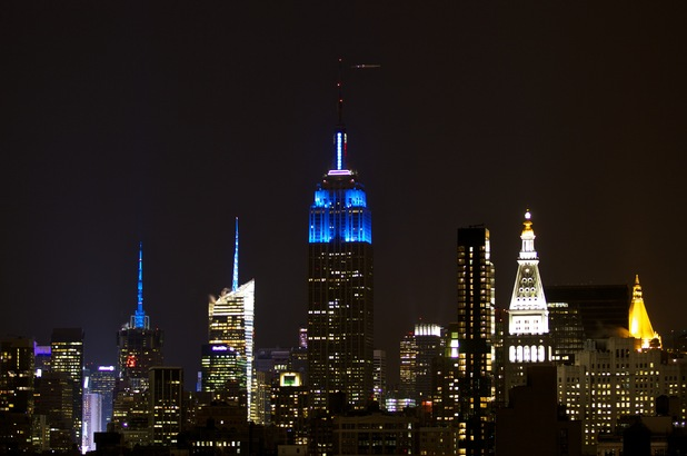 The Empire State Building lit up in support of Light It Up Blue.   Photo courtesy of Autism Speaks