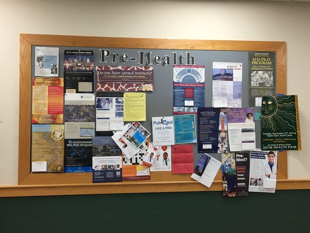 The Pre-Health bulletin board in the Science Center. Photo credit: Janaki Chadha