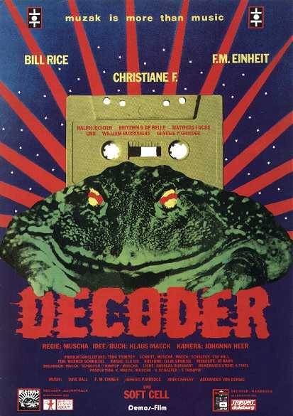 A film poster for the 1984 German film Decoder.  Photo courtesy of Wikipedia