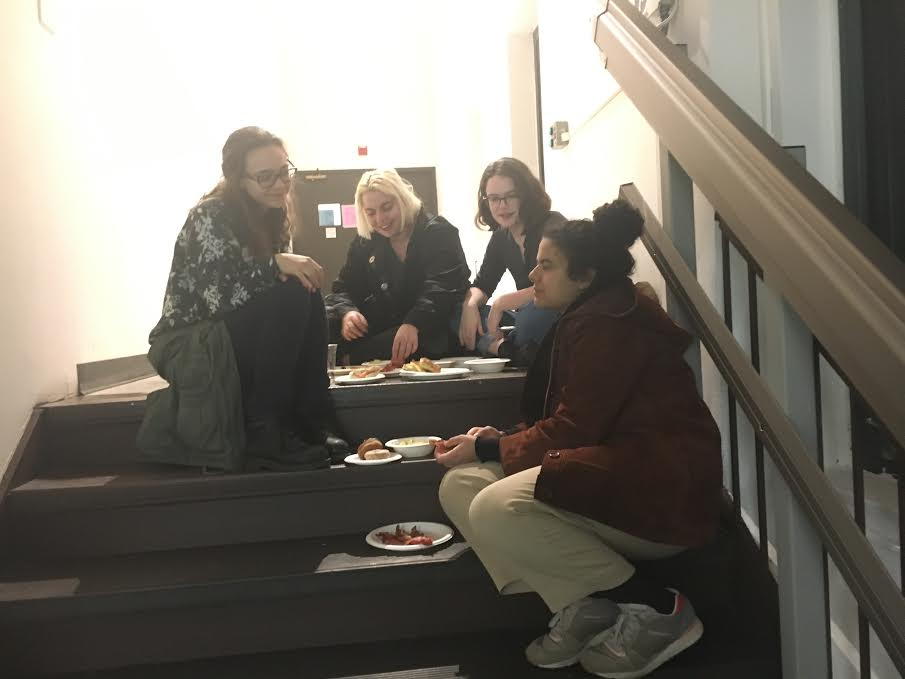 Students find empty spaces to eat. photo credit: andrea cantor '17