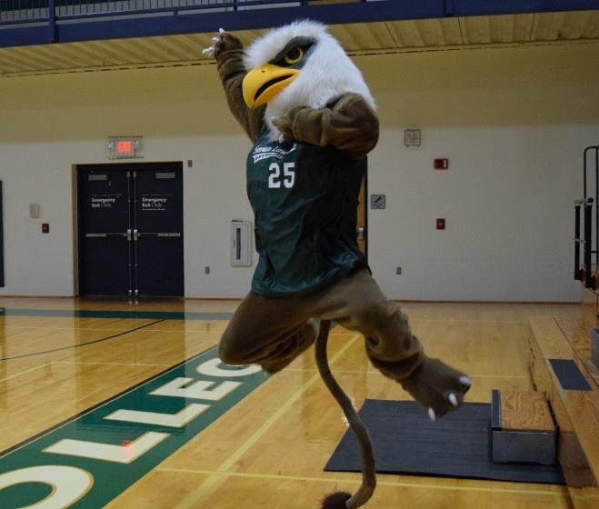 THE SLC GRYPHON MASCOT PHOTOGRAPHED DURING A GAME IN CAMPBELL Sports center. photo credit: tony correa.
