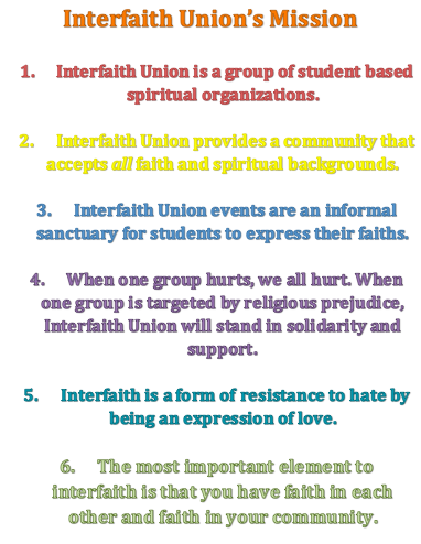 Interfaith Union's mission poster .