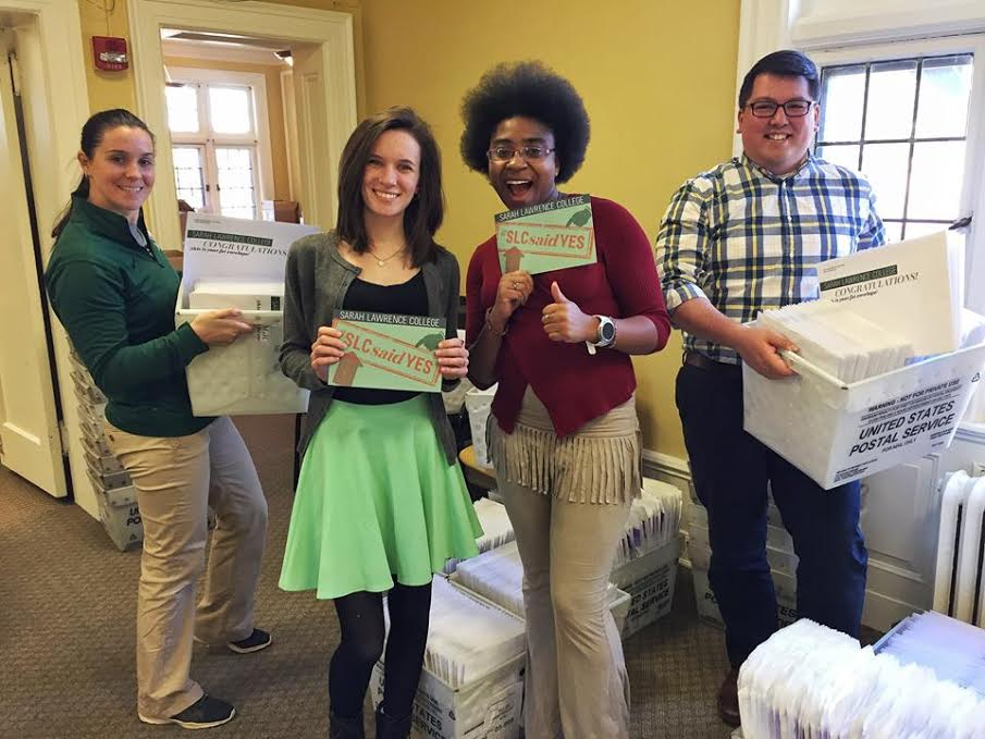Sending out acceptance letters for the class of 2021. Photo courtesy of Sarah Lawrence College Office of Admissions.