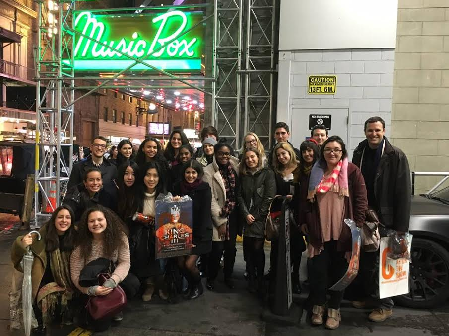 Politics professor Sam abrams and his donees at a broadway show. Photo courtesy of the sarah lawrence website