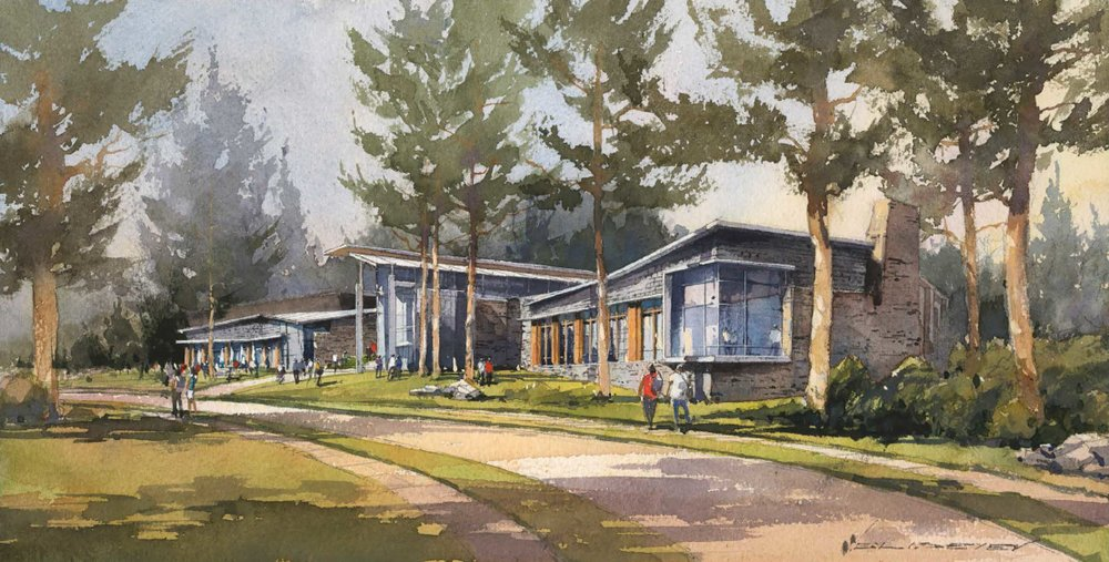 Art Rendering of the Barbara walters campus center. photo courtesy of the sarah lawrence website.