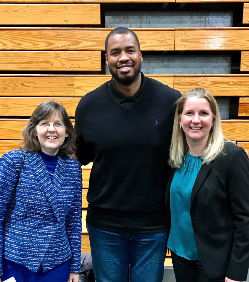 Former NBA player Jason Collins (center) with President Cristle Collins Judd and Athletic Director Kristen Maile. Credit: Sarah Lawrence Athletics