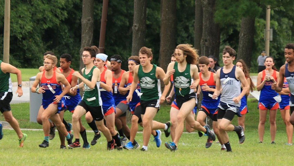 """Gryphons lead the pack at the York Invitational, September 23rd."" Credit: GoGryphons.com"