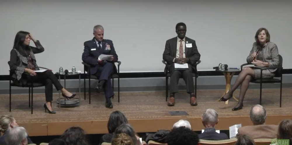 From left to right: Laura Sparks, the president of The Cooper Union for Advancement of Science and Art; Lt. Gen. Jay Silveria, superintendent of the U.S. Air Force Academy; Thomas Isekenegbe, president of Bronx Community College; Cristle Collins Judd, president of Sarah Lawrence College