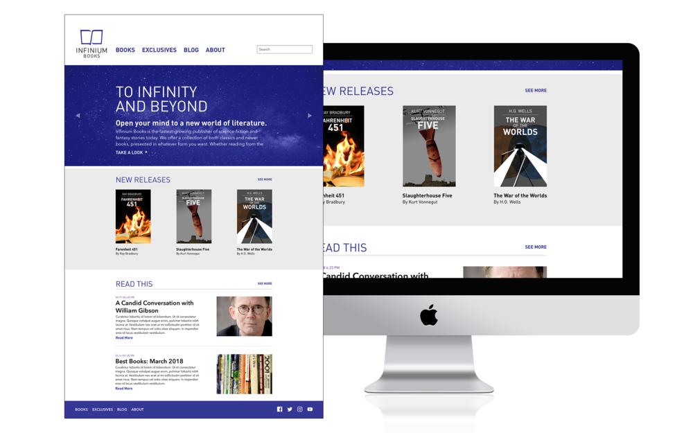 Redesigned Infinium Books website, 2018