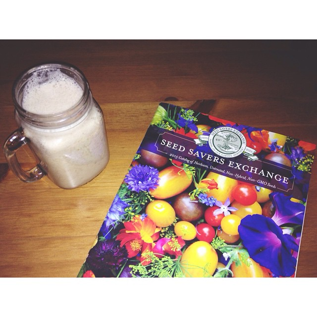 Sipping on a vegan eggnog shake (sooo good, new favorite holiday drink) and looking through a seed catalogue for next year. First time for everything, right? #veganeggnog #seedcatalogue #vegan #eggnog #gardendreams