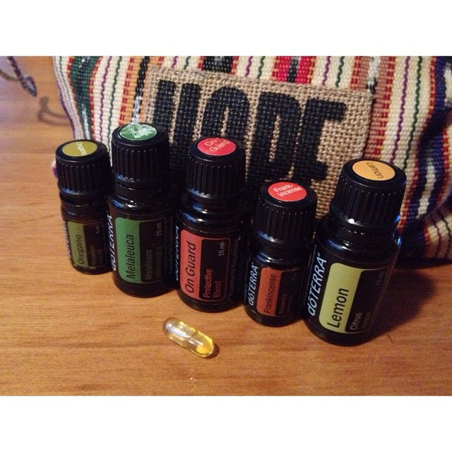 A lot of people are sick around here. The local schools closed last week because of a significant decrease in attendance due to illness, and hundreds of kids & parents this week have been staying home with the flu. Every one is sanitizing everything. Me? I have my essential oils. Feeling good, but taking preventative measures. Flu bomb: 2 drops oregano, 2 drops melaleuca, 2 drops OnGuard, 2 drops Frankincense, and 2-4 drops of lemon in a veggie capsule. #doTERRA #essentialoils #onguard #lemon #oregano #frankincense #melaleuca #teatree #hopebag #flubomb
