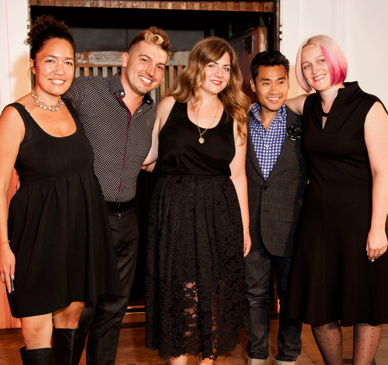 Left to right: Cari Borja of Cari Borja/Clothesmaker, Jake of Artful Gentleman, Stephanie Bodnar of Evgenia Lingerie, Tony Sananikone of Southnavong, and Bethany Scott of Mansoor Scott