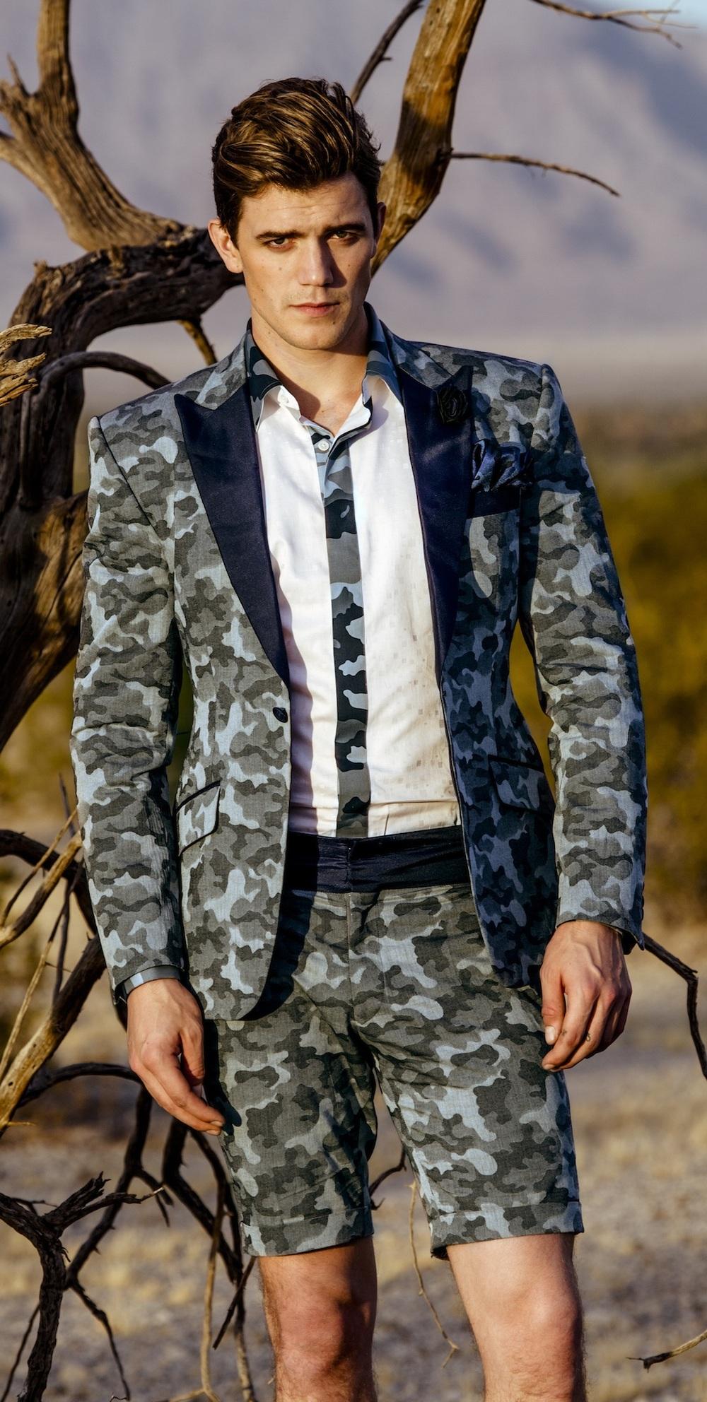 Linen + wool short tuxedo