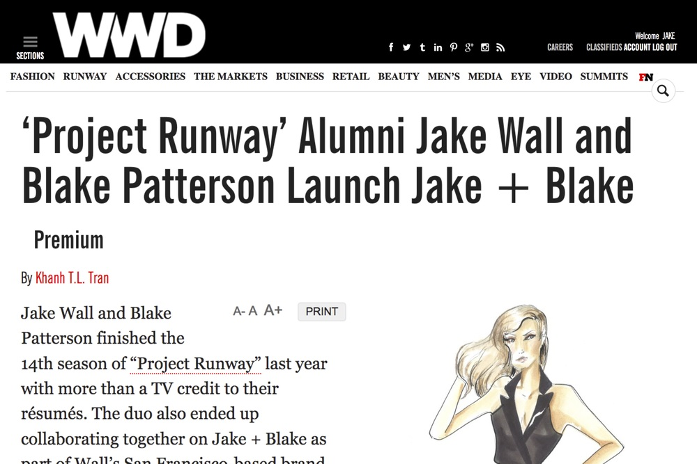 "WWD: ""JAKE is two very talented people having a conversation through fabric and it is AMAZING."" Designers Jake Wall and Blake Patterson discuss collaboration and the new creation process at JAKE in a post ""Project Runway"" world. [ Read More... ]"
