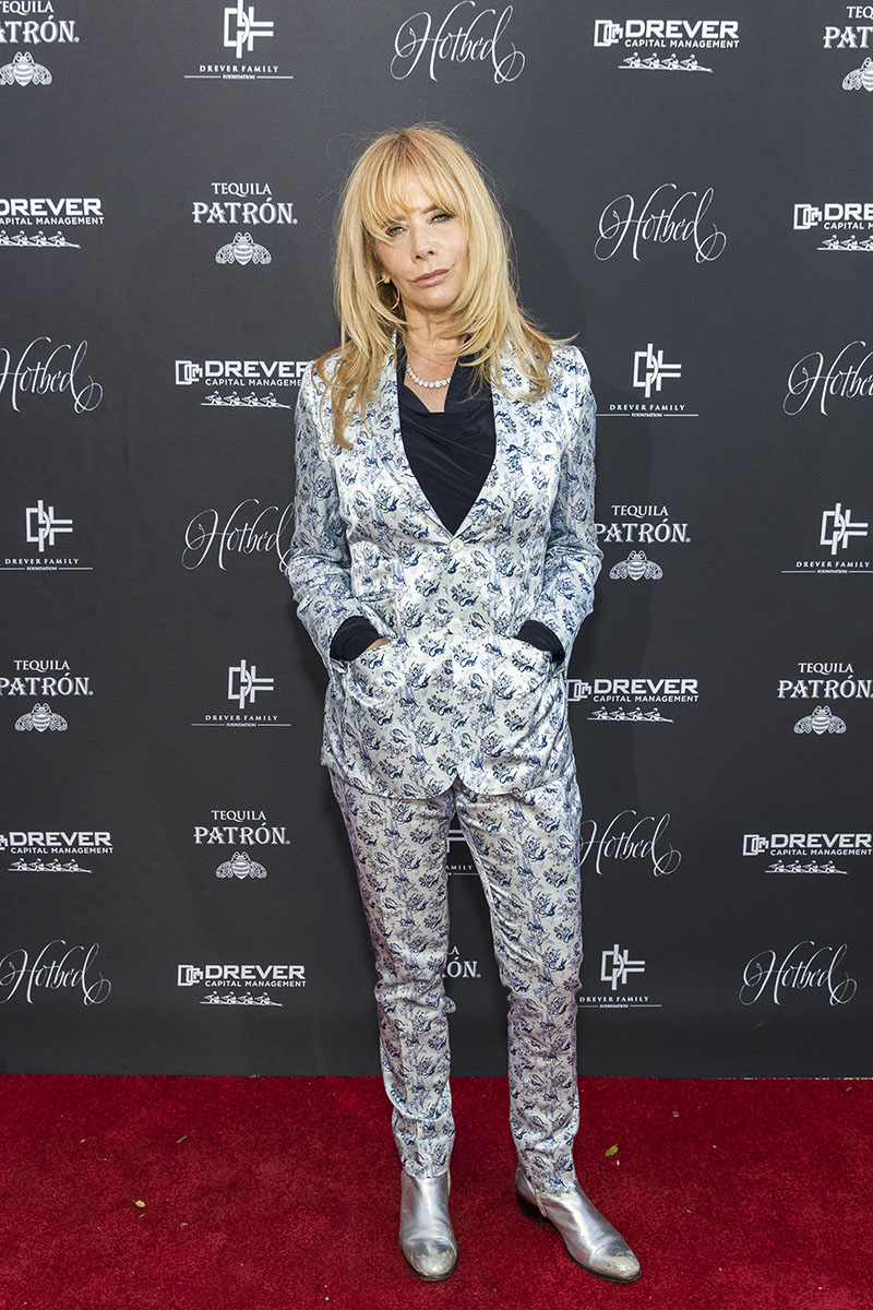 Actress Rosanna Arquette wearing JAKE Chinoiserie Single Breasted Satin Suit Photo courtesy of Drew Alitzer