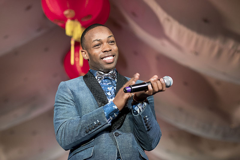 Singer/artist Todrick Hall wearing JAKE Cotton Chinoiserie Shirt Photo courtesy of Drew Alitzer