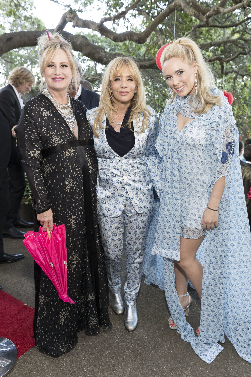 Left to right: Kelly Stone, Rosanna Arquette, and Victoria Noyes Rosanna in JAKE: Chinoiserie Single Breasted Satin Suit  Victoria in JAKE: Chinoiserie Kimono Sleeve Sheath Dress Photo courtesy of Drew Alitzer