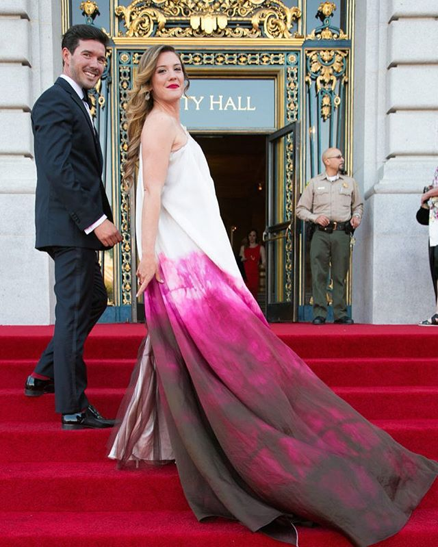 With #gala season upon us, we #flashback to the 2016 #SF Symphony Opening Night. Kari Lincks slays on the #redcarpet in custom JAKE. @redcarpetbayarea  #iwearjake #fbf #flashbackfriday #gowns #custom
