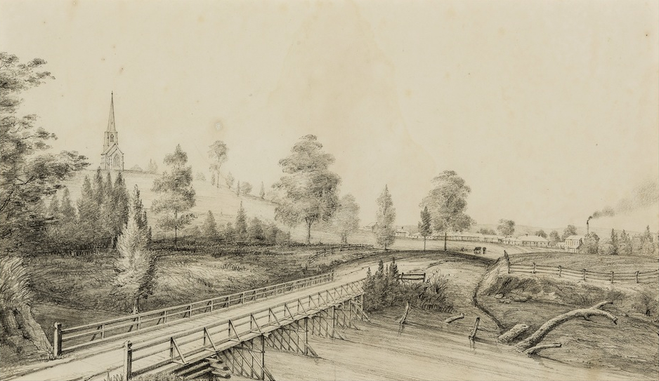 Thomas Woore, (Cowpastures) Bridge & Village of Camden 1842