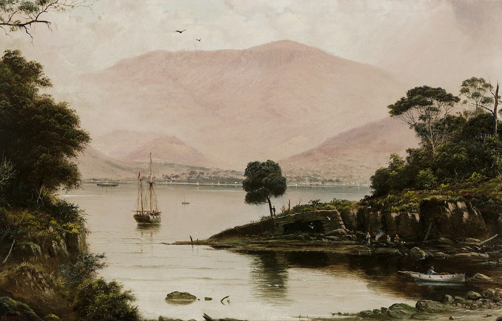 Haughton Forrest view of hobart from across the derwent oil painting