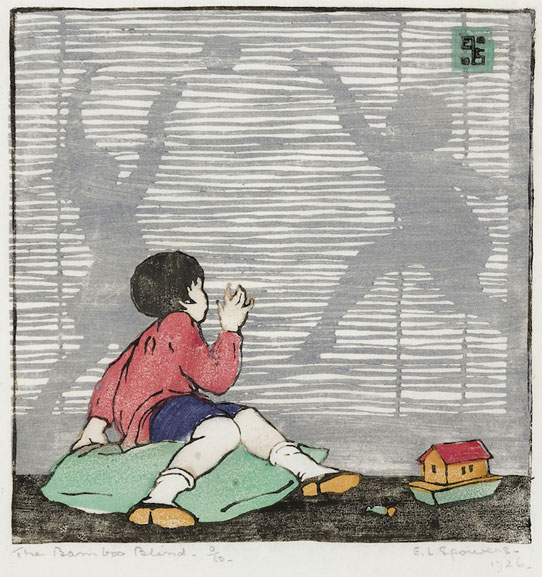 Ethel Spowers The Bamboo Blind 1926 linocut