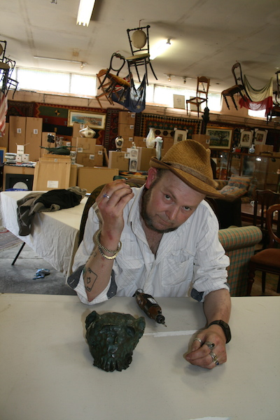 Adam Cullen with Bronze Sculpture Skull 2011