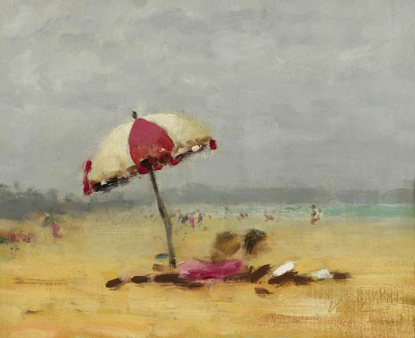 Hayward Veal Beach Scene oil art painting