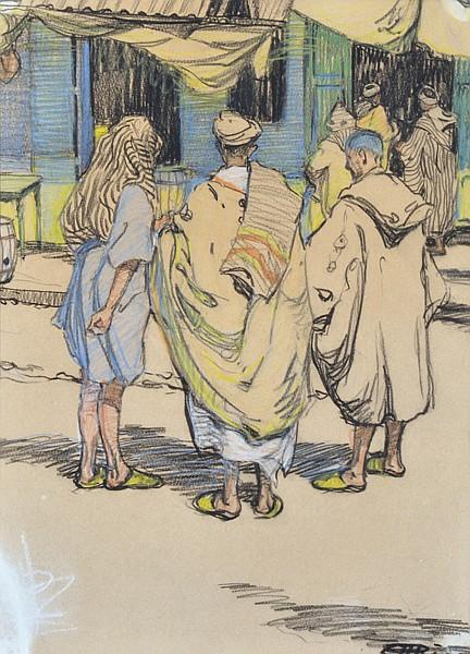 Hilda Rix Nicholas, Street Scene, Morocco c1912-14