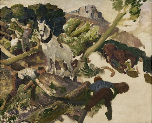 "George Lambert, Unfinished Sketch ""Timber Getters"" (Wales) c1916-17"
