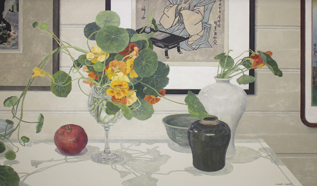 Cressida Campbell Shelf Still life 2012 woodblock