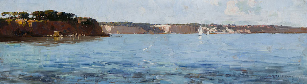 Arthur Streeton - Fossil Bay, Menton (Flood Tide) 1925, oil on panel 19.0 x 65.5 cm
