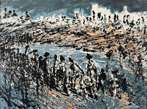 Elizabeth Durack - The March (Figures in Landscape, Eastern Goldfields Western Australia from the Melted Images series) c1960s
