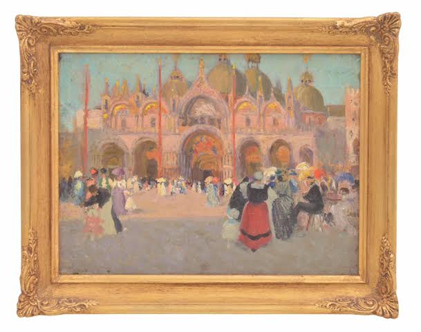ETHEL CARRICK FOX - THE PIAZZA, VENICE C. 1906 Oil on Board 26.0 x 35.0 cm
