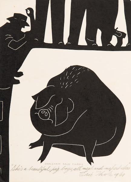 "Horsham Sale Yards ""She's a beautiful Pig boys, Linocut 20.0 x 14.0 cm"