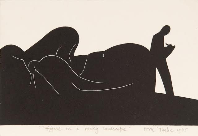 Eric Thake, FIGURE IN A ROCKY LANDSCAPE 1965, linocut 14.0 x 21.0 cm