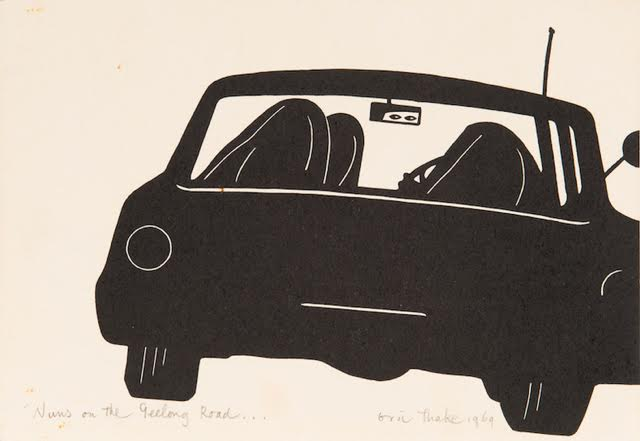 Eric Thake, NUNS ON THE GEELONG ROAD...1969, linocut 14.0 x 21.0 cm