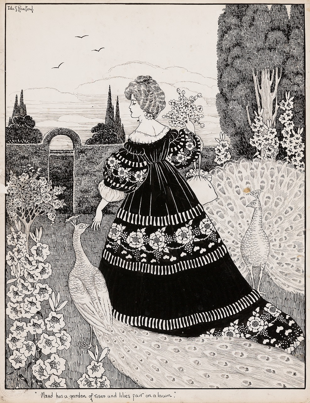 MAUD HAS A GARDEN OF ROSES AND LILIES FAIR ON A LAWN C1906, ink and pencil on card, 32.0 x 25.5 cm
